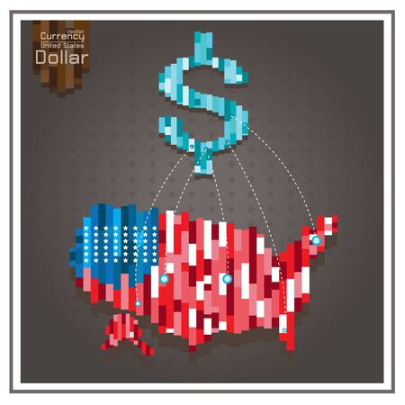 american downloads: Business America money dollar Spending Stars dotted lines on the map gray background