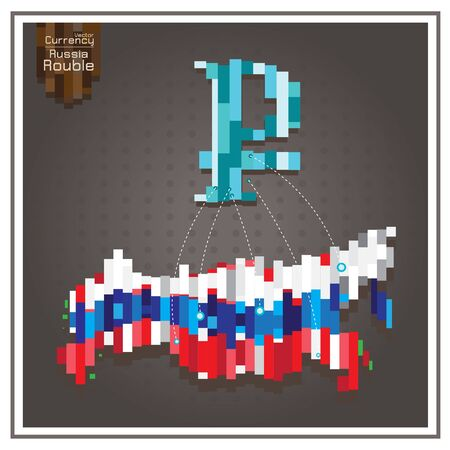 dotted lines: Business money rouble and Spending russia dotted lines on the map gray background Illustration