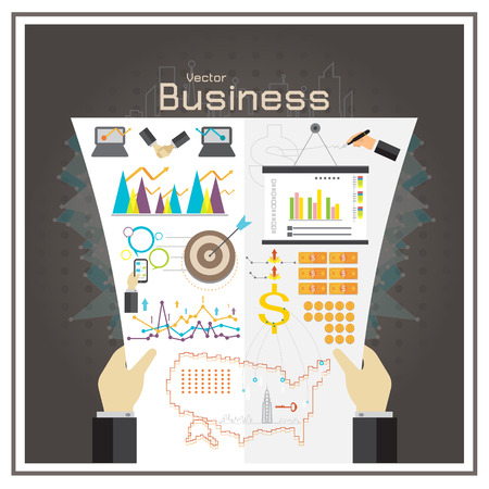 counterfeit: business graph investment map usa money report vector Illustration