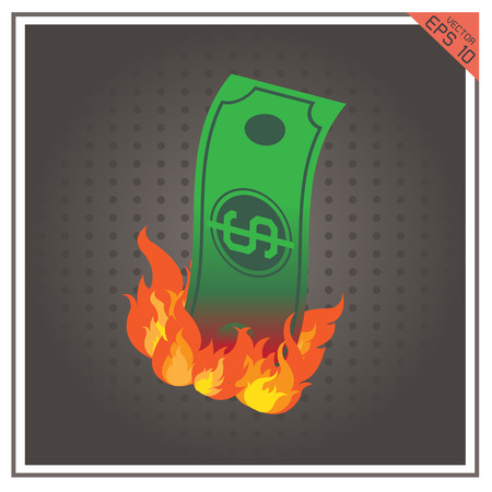 burning paper: money burning fire vector illustration paper dollar business