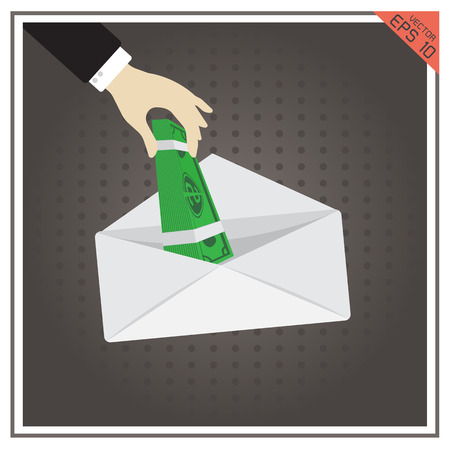 payola: money salary cash vector icon hand envelope Illustration