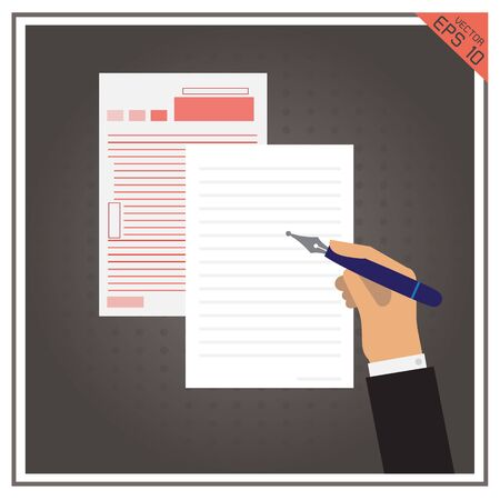business pen: paper isolated page white business pen