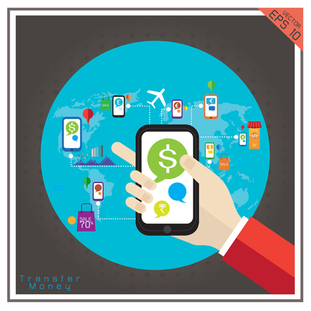 paying: money  transfer mobile dollar euro Baht currency paying sale  Illustration