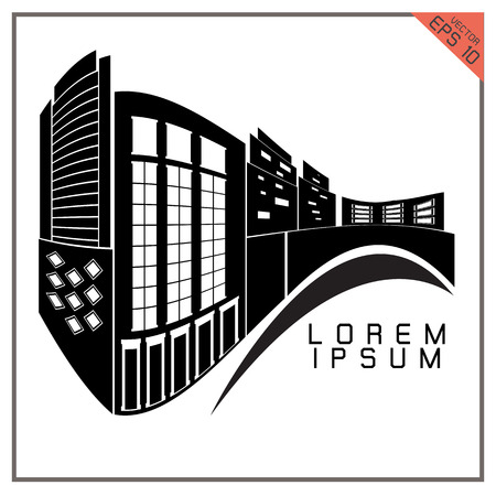 commercial building: Commercial Building black and white set icons on white background Illustration