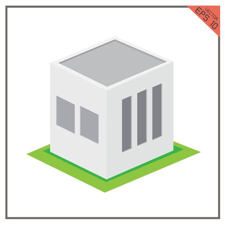 warehouse building: building  3d warehouse icon green on white background