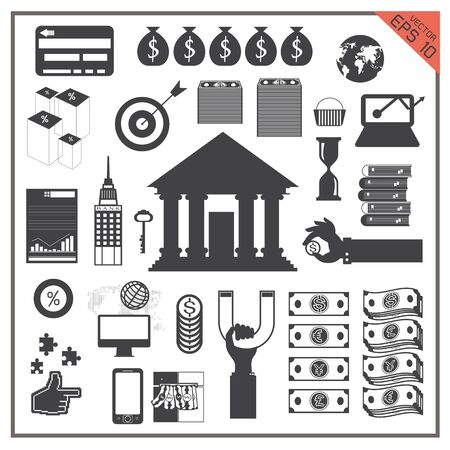 banco mundial: icono del vector de negocio de dinero Transferencia de establecer un mapa bancario ordenador mundo Vectores