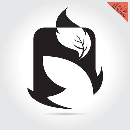 Vector art logo leaves Stylized silhouette of spring leaf isolated on white