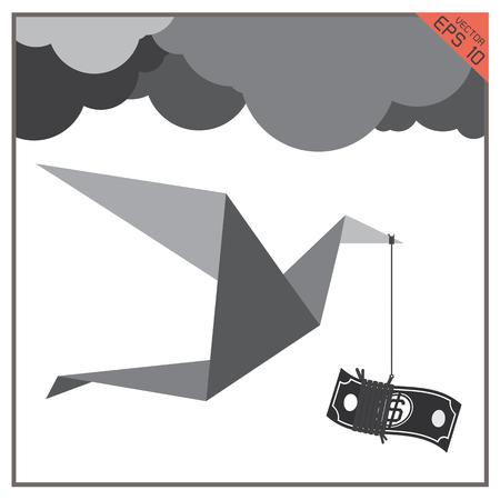 flying money: Bird flying cloud with money bag in its beak Vectores