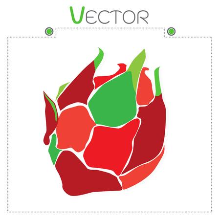 fruit du dragon: Illustration Vecteur Ic�ne Ripe exotique fruit du dragon avec une tranche Illustration