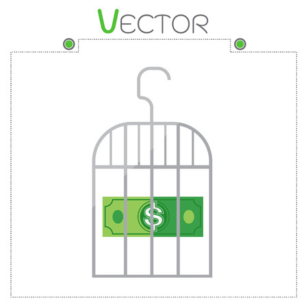 confined: Dollar in money gray cage vector format