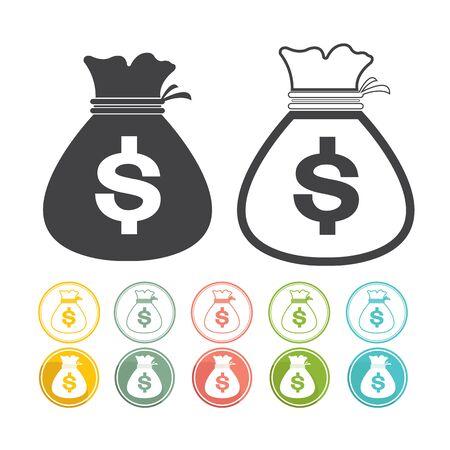 pink green: Bolso del dinero de moneda icono de la muestra de d�lar del vector negro amarillo verde rosado azul rojo Vectores