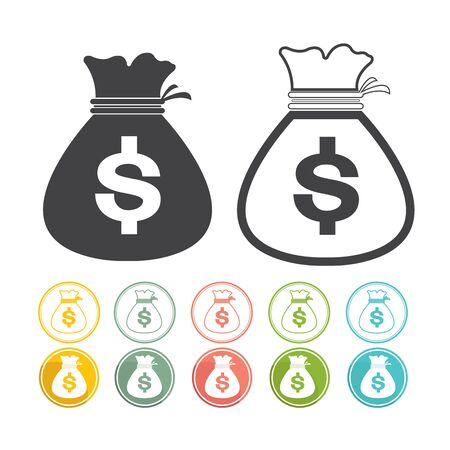 black and yellow: Money bag sign icon Dollar currency Vector black Yellow pink green blue red Illustration