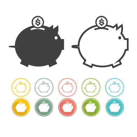 black and yellow: Piggy bank icon Pictograph of moneybox Vector black Yellow pink green blue red Illustration