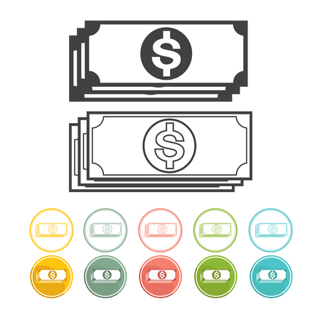 black and yellow: Money and Dollar icon set Vector black Yellow pink green blue red Illustration