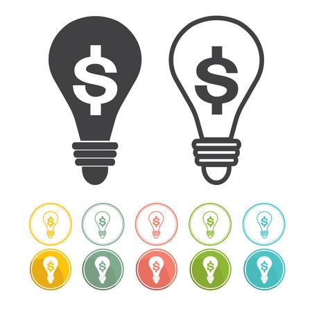 black light: Money Making Ideas Flat icon design Red yellow green blue pink vector Illustration