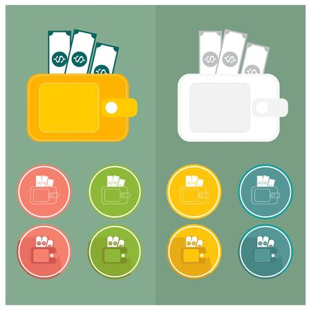 empty wallet: Wallet Icons Simple Pink green yellow blue white orange dollar vector