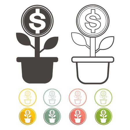 dolar: Dolar money tree green with icons Vector Currency