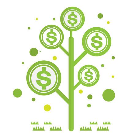 dolar: Dolar dinero verde árbol con iconos vectoriales moneda Vectores