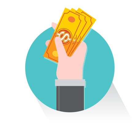 grasp: hand grasp catch money cash Dollar business vector Illustration