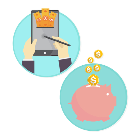 quick money: โทรศัพท์ แท็บเล็ต การโอน ออมสิน เงิน Illustration