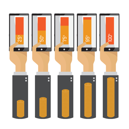 Mobile technology to do business  hand transfer money Vector Illustration