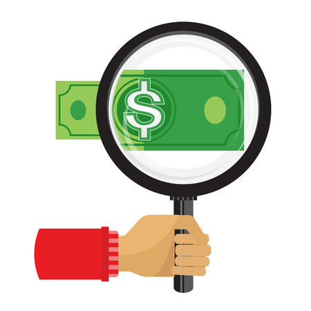 lawful: Magnifying glass focusing the dollar sign money. Lawful money.vector Illustration