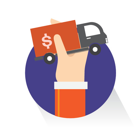 Vector Armored truck money on white background