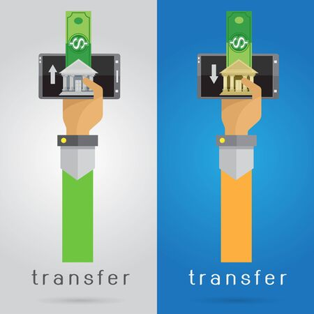 arm: vector arm and hand mobile phone money transfer Quick convenient banking
