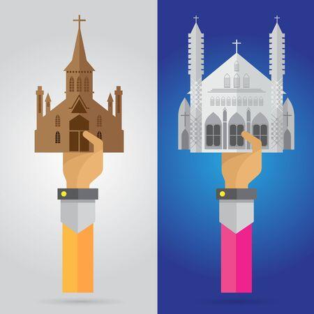 devout: vector hands and arm christian prayer building church praying cross worship