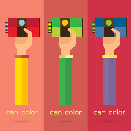 paint can: vector hand arm illustration paint can color background icon
