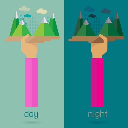night and day: vector Mountain night day nature arm and hand Illustration