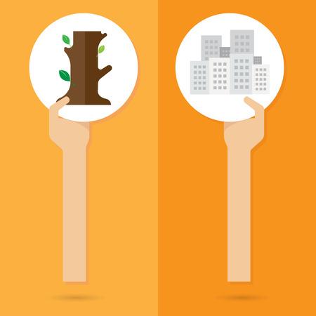 deforestation: vector build Building deforestation nature arm and hand