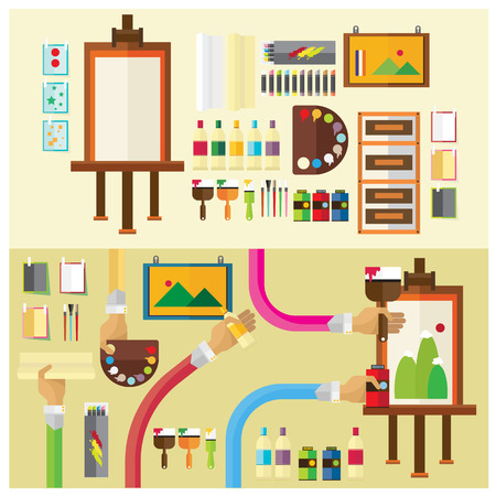 workshop: vector Art studio color paint flat illustration icon arm and hand Modern