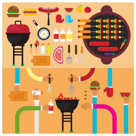 vector BBQ Burger Cutting salt sausage sauce grilled fruit. flat illustration icon arm and hand Modern Illustration