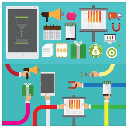 magnets: vector Phone calendar magnets money businessgraph teamwork fruit flat illustration icon arm and hand Modern Illustration