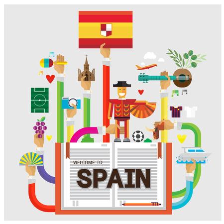 barcelone: vecteur espagne main Barcelone Bison bras de football plat icône illustration et de la main moderne Illustration