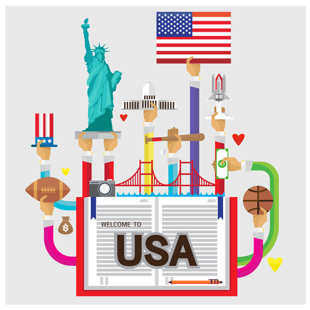 white house: vector usa White House Statue of Liberty rugby flat illustration icon arm and hand Modern Illustration
