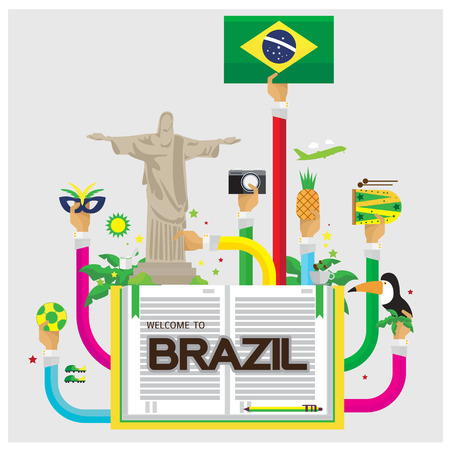 brazil symbol: Brazil jesus Soccer camera pineapple leaves Hornbill Tourism music arm and hand