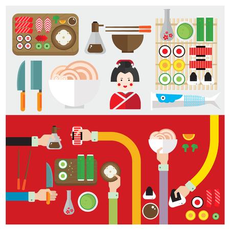 lay: set sushi food japan symbol hand and arm Illustration