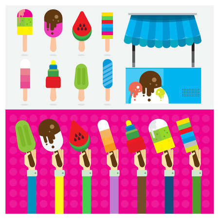 carretto gelati: set ghiaccio simbolo crema per le mani e braccio