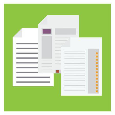 Paper statistics graph on green background Illustration