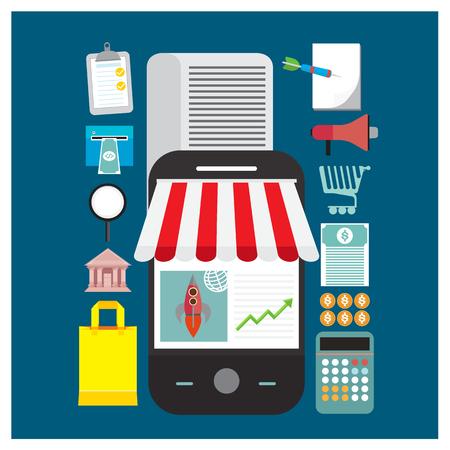 online shopping store shop illustration mobile Save paper bank expands money transfer calculator products are traded on blue background Ilustração