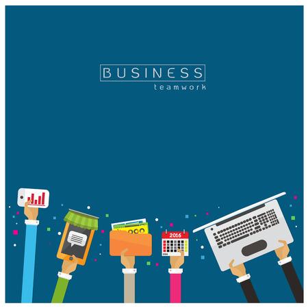 office team: Files, documents, calendar, notebook marketing, online stores, online business teamwork success earnings performance