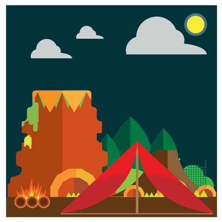 forest fire: Camping Mountain forest fire ground tents Illustration
