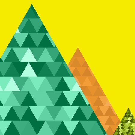 �berfluss: Green mountain triangle, green, orange, yellow, blue abundance