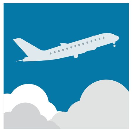 takeoff: airplane flight tickets air fly cloud sky blue travel background takeoff Illustration