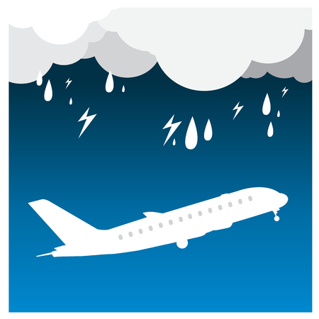 thunder cloud: airplane Rain thunder flight tickets air fly cloud sky blue travel background takeoff Illustration