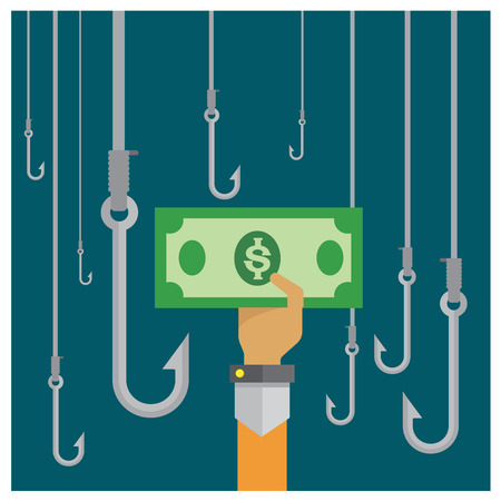 reap: vector money silver hook Investment reap corruption hand and arm