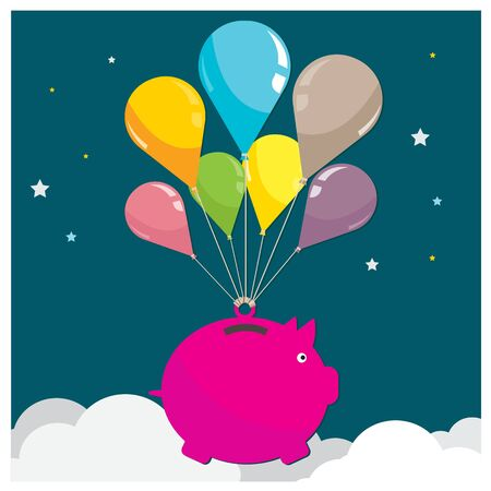 flying pig: vector Higher business Cute cartoon vector pig flying on balloon Metaphors clouds