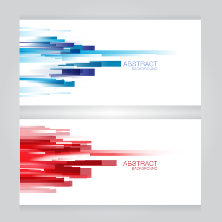 header design: vector set of three banners abstract headers with blue red rectangle